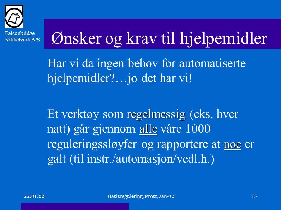 Falconbridge Nikkelverk A/S 22.01.02Basisregulering, Prost, Jan-0213 Ønsker og krav til hjelpemidler Har vi da ingen behov for automatiserte hjelpemidler …jo det har vi.