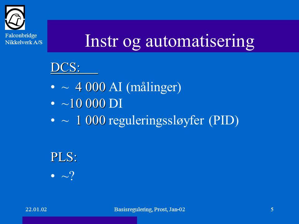 Falconbridge Nikkelverk A/S 22.01.02Basisregulering, Prost, Jan-025 Instr og automatisering DCS: 4 000~ 4 000 AI (målinger) 10 000~10 000 DI 1 000~ 1 000 reguleringssløyfer (PID)PLS: ~