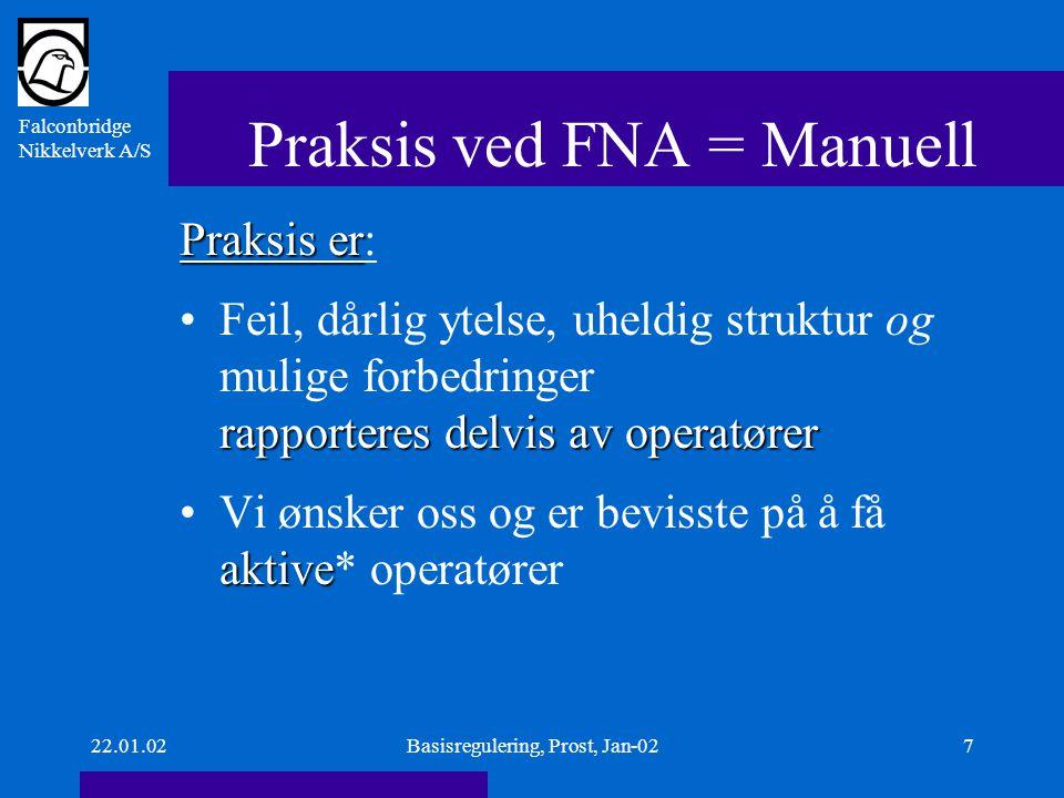 Falconbridge Nikkelverk A/S 22.01.02Basisregulering, Prost, Jan-027 Praksis ved FNA = Manuell Praksis er Praksis er: rapporteres delvis av operatørerFeil, dårlig ytelse, uheldig struktur og mulige forbedringer rapporteres delvis av operatører aktiveVi ønsker oss og er bevisste på å få aktive* operatører