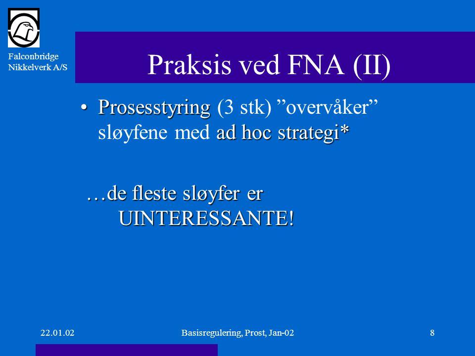 Falconbridge Nikkelverk A/S 22.01.02Basisregulering, Prost, Jan-029 Praksis ved FNA (III) autotuning,Vi har mulighet for autotuning, men vi bruker det nesten ikke - hvorfor ikke.