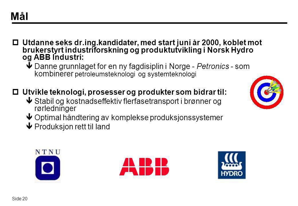 Side 20 Mål pUtdanne seks dr.ing.kandidater, med start juni år 2000, koblet mot brukerstyrt industriforskning og produktutvikling i Norsk Hydro og ABB