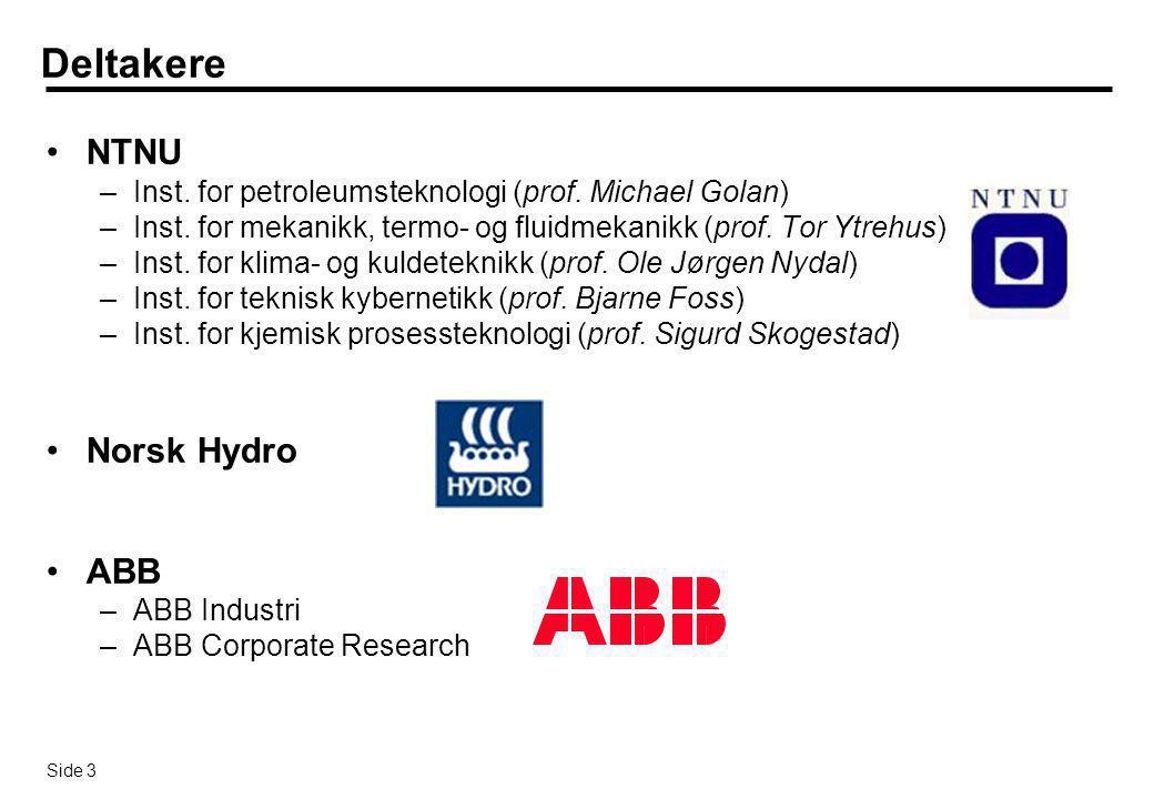 Side 4 Organisering  Totalprosjektet vil bestå av tre selvstendige deler: –Et dr.ing.program med seks dr.ing.studenter som involverer fem NTNU institutter –ABBs forsknings- og produktprogram ABB Enhanced Oilfield Control –Norsk Hydros prosjekt Produksjonskontroll & Optimalisering  Dr.ing.programmet vil knyttes tett opp mot den omfattende interne satsingen i Norsk Hydro og ABB