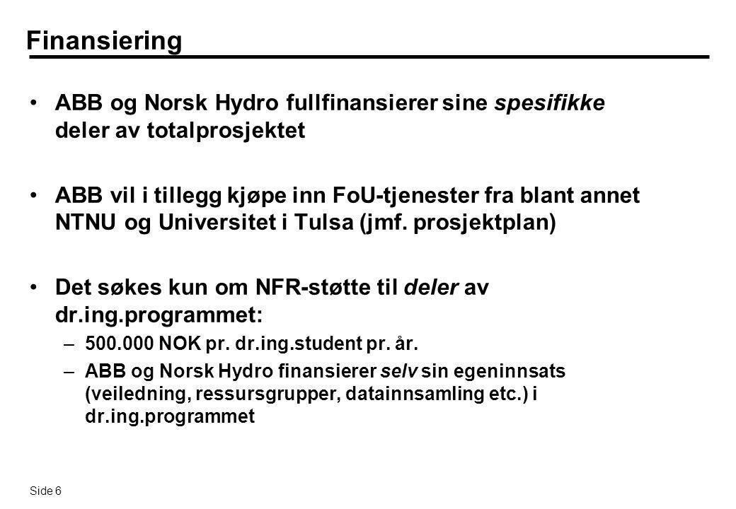 Side 17 Problemstillinger pProsjektet vil ta utgangspunkt i prioriterte produksjonstekniske utfordringer slik Norsk Hydro ser dem, og dr.ing.oppgavenes innhold vil reflekteres av dette pTre høyt prioriterte utfordringer er: êLokal optimalisering  Optimalisering ned til brønnnivå ut fra lokal kapasitetsbegrensning (f.eks ved kompressorvask ) êDynamisk stabilisering & optimalisering  Stabilisering & optimalisering av transiente eller vanskelige operasjonsbetingelser (slugging etc.) êNærbrønnsmodellering  Forenklet modellering/implementering av innstrømning til brønn