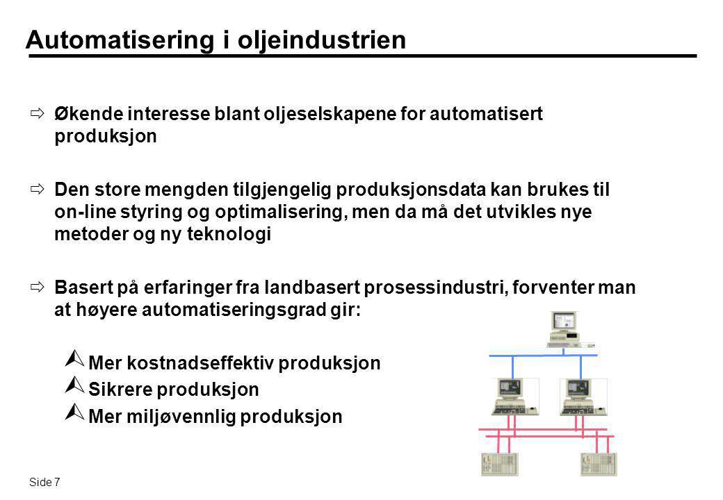 Side 7 Automatisering i oljeindustrien  Økende interesse blant oljeselskapene for automatisert produksjon  Den store mengden tilgjengelig produksjon