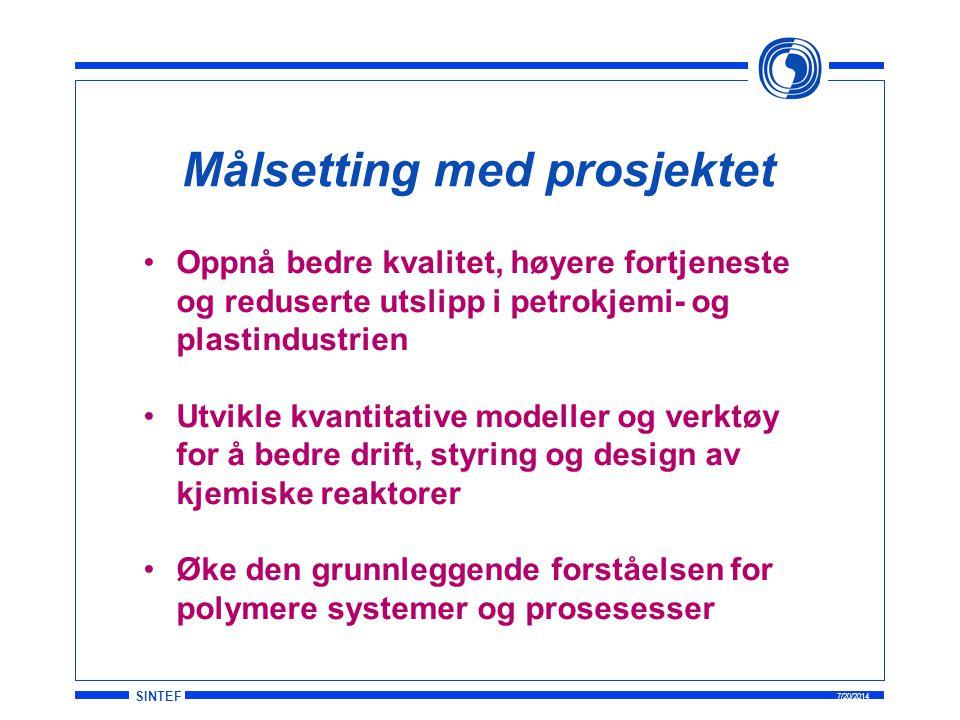 SINTEF 7/20/2014 Målsetting med prosjektet Oppnå bedre kvalitet, høyere fortjeneste og reduserte utslipp i petrokjemi- og plastindustrien Utvikle kvan