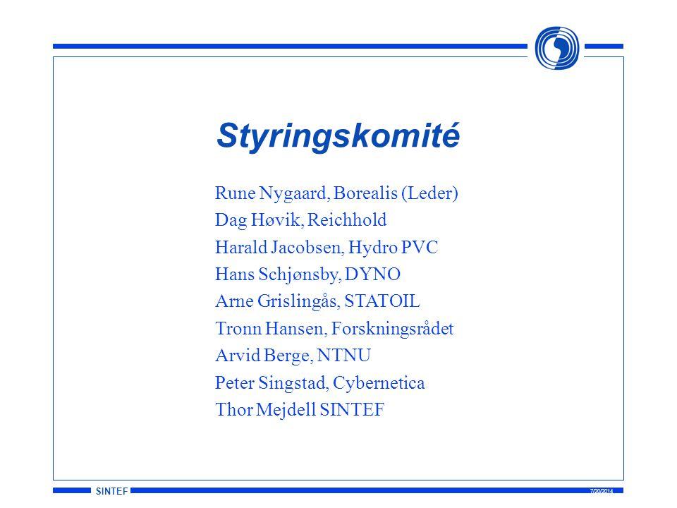 SINTEF 7/20/2014 Styringskomité Rune Nygaard, Borealis (Leder) Dag Høvik, Reichhold Harald Jacobsen, Hydro PVC Hans Schjønsby, DYNO Arne Grislingås, S