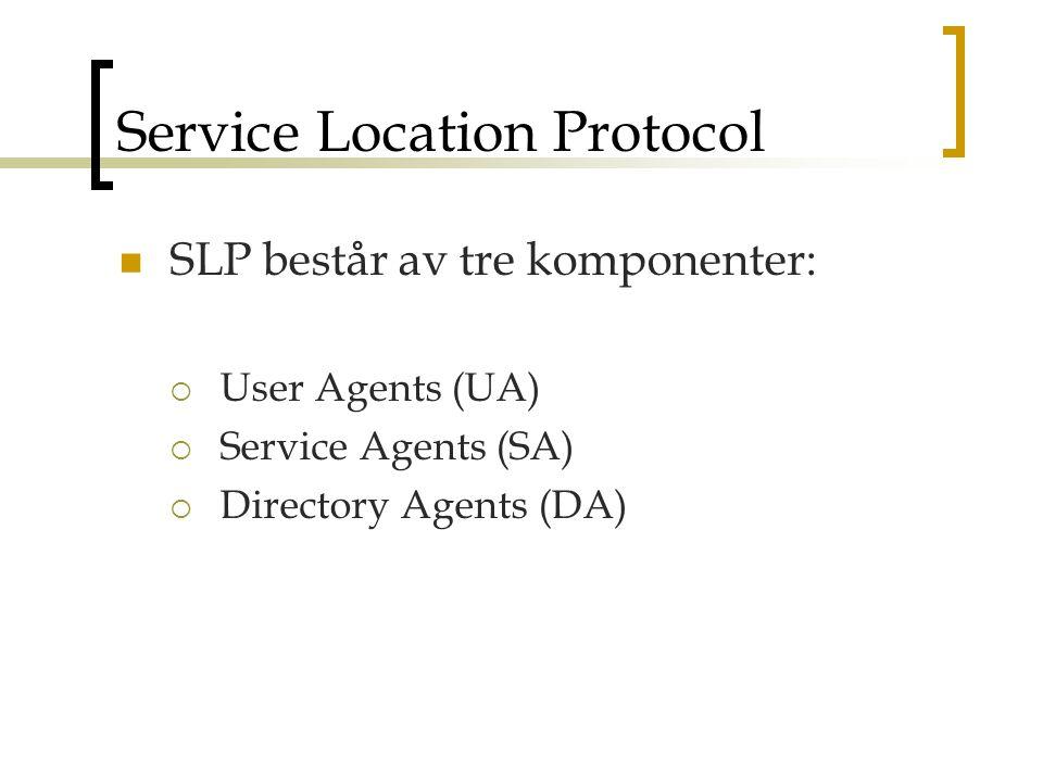 Service Location Protocol SLP består av tre komponenter:  User Agents (UA)  Service Agents (SA)  Directory Agents (DA)