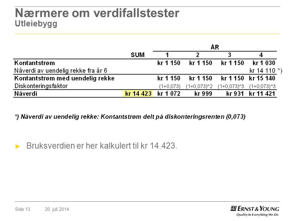 20. juli 2014Side 13 Nærmere om verdifallstester Utleiebygg ► Bruksverdien er her kalkulert til kr 14.423.