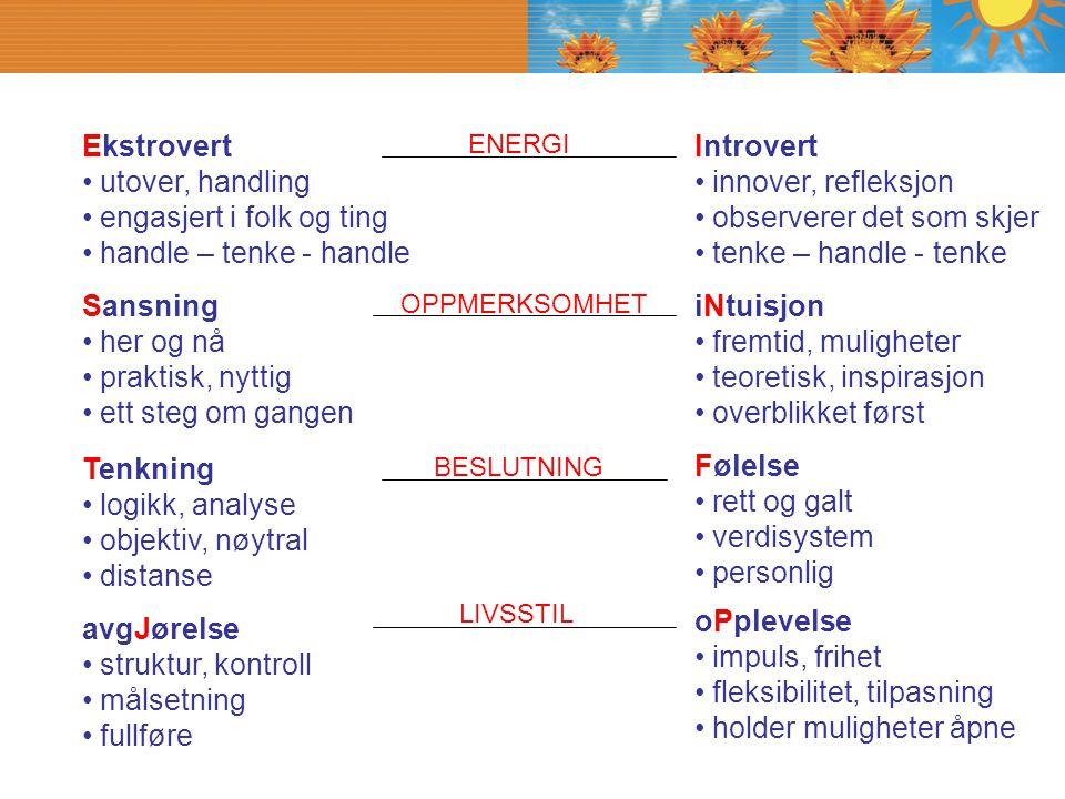 Ekstrovert utover, handling engasjert i folk og ting handle – tenke - handle Introvert innover, refleksjon observerer det som skjer tenke – handle - t