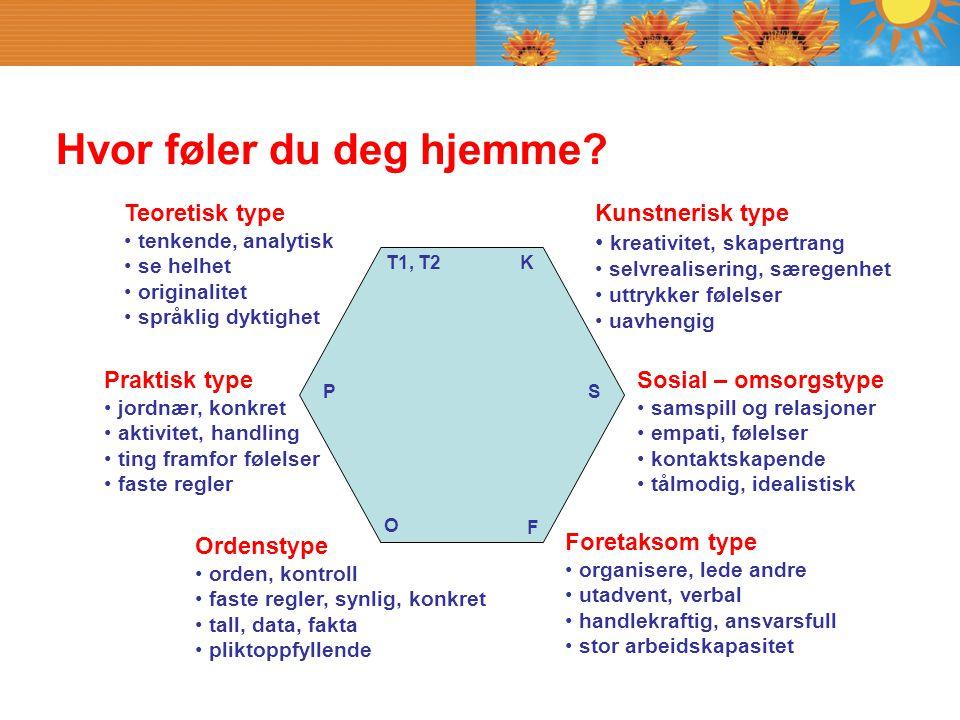 Hvor føler du deg hjemme? Praktisk type jordnær, konkret aktivitet, handling ting framfor følelser faste regler Teoretisk type tenkende, analytisk se