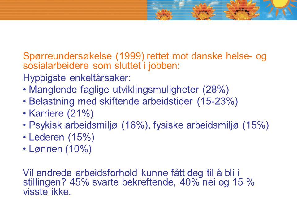 Spørreundersøkelse (1999) rettet mot danske helse- og sosialarbeidere som sluttet i jobben: Hyppigste enkeltårsaker: Manglende faglige utviklingsmulig
