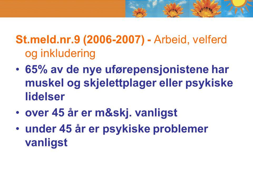 St.meld.nr.9 (2006-2007) - Arbeid, velferd og inkludering 65% av de nye uførepensjonistene har muskel og skjelettplager eller psykiske lidelser over 4