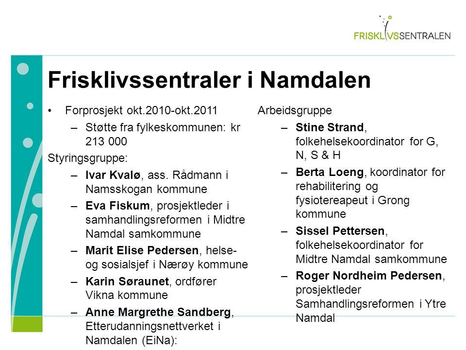 Forprosjekt okt.2010-okt.2011 –Støtte fra fylkeskommunen: kr 213 000 Styringsgruppe: –Ivar Kvalø, ass. Rådmann i Namsskogan kommune –Eva Fiskum, prosj