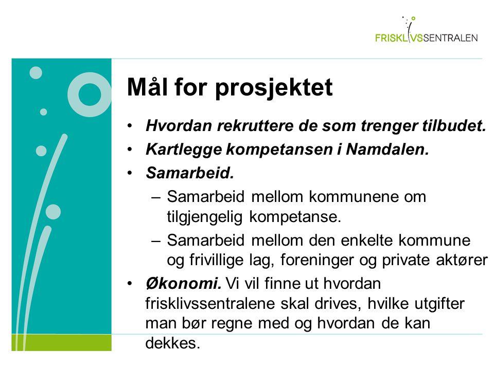Mål for prosjektet Hvordan rekruttere de som trenger tilbudet. Kartlegge kompetansen i Namdalen. Samarbeid. –Samarbeid mellom kommunene om tilgjengeli