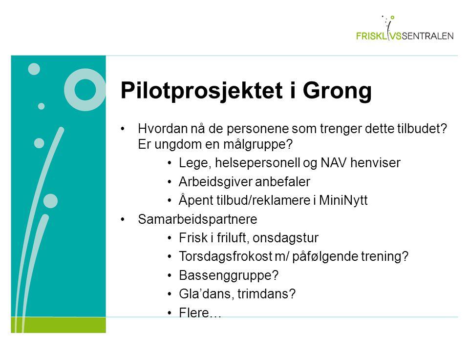 Pilotprosjektet i Grong Hvordan nå de personene som trenger dette tilbudet? Er ungdom en målgruppe? Lege, helsepersonell og NAV henviser Arbeidsgiver