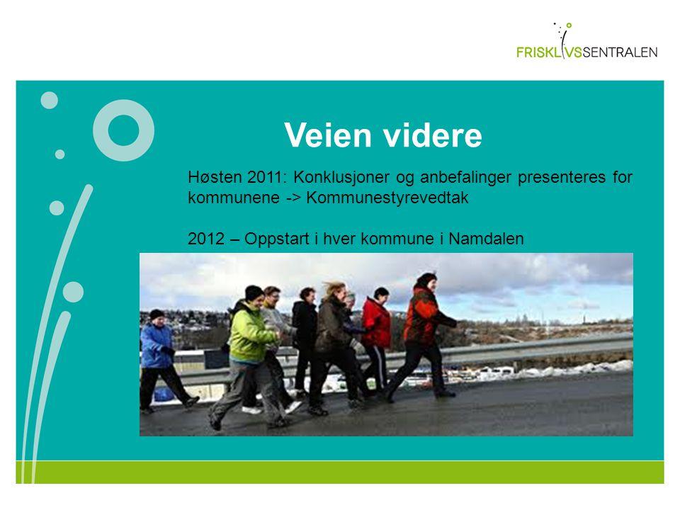 Veien videre Høsten 2011: Konklusjoner og anbefalinger presenteres for kommunene -> Kommunestyrevedtak 2012 – Oppstart i hver kommune i Namdalen