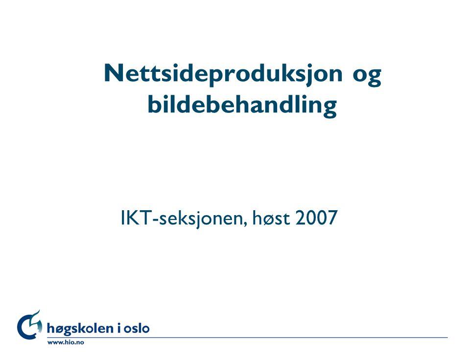 Høgskolen i Oslo Nettsideproduksjon og bildebehandling IKT-seksjonen, høst 2007