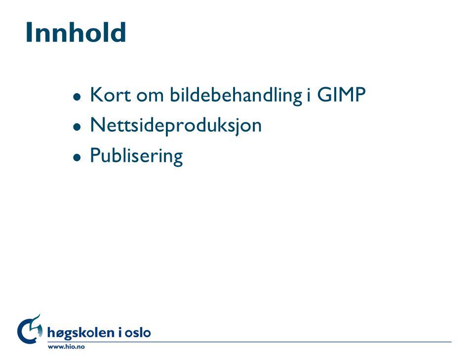 Innhold l Kort om bildebehandling i GIMP l Nettsideproduksjon l Publisering