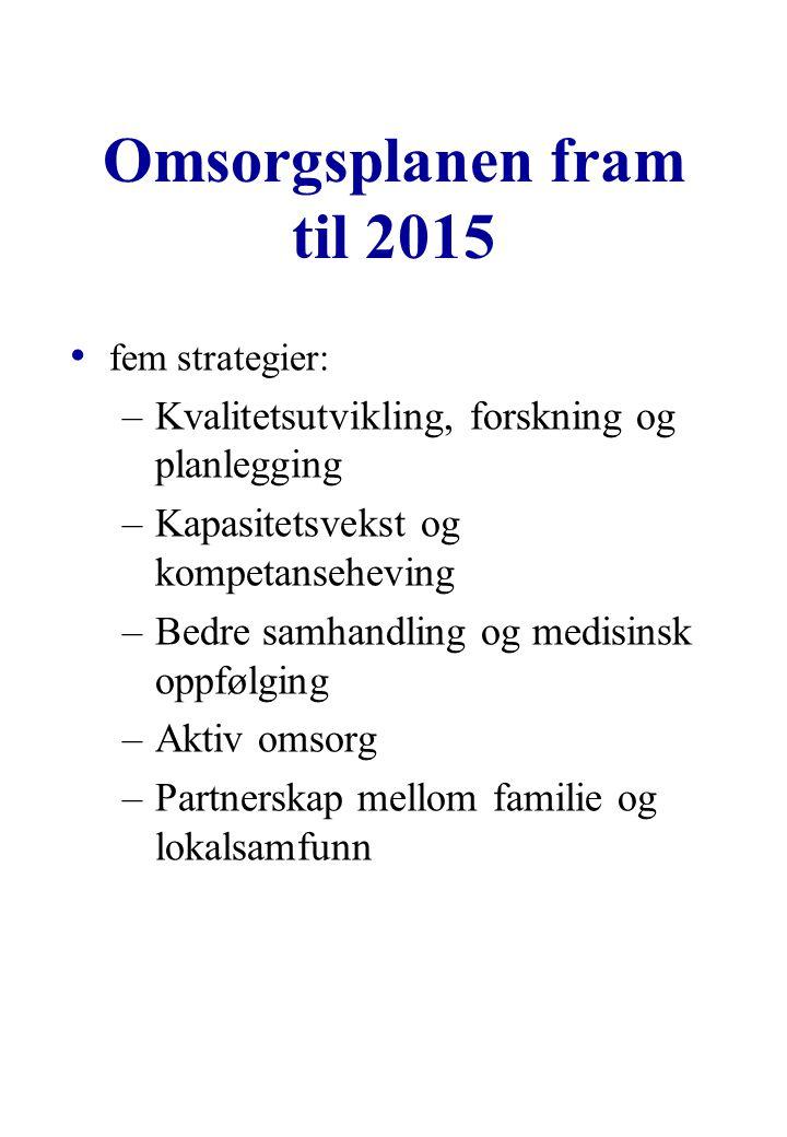 Omsorgsplanen fram til 2015 fem strategier: –Kvalitetsutvikling, forskning og planlegging –Kapasitetsvekst og kompetanseheving –Bedre samhandling og medisinsk oppfølging –Aktiv omsorg –Partnerskap mellom familie og lokalsamfunn