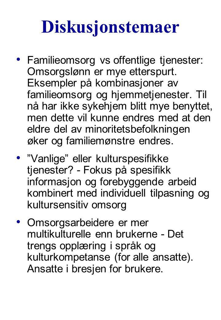 Diskusjonstemaer Familieomsorg vs offentlige tjenester: Omsorgslønn er mye etterspurt. Eksempler på kombinasjoner av familieomsorg og hjemmetjenester.