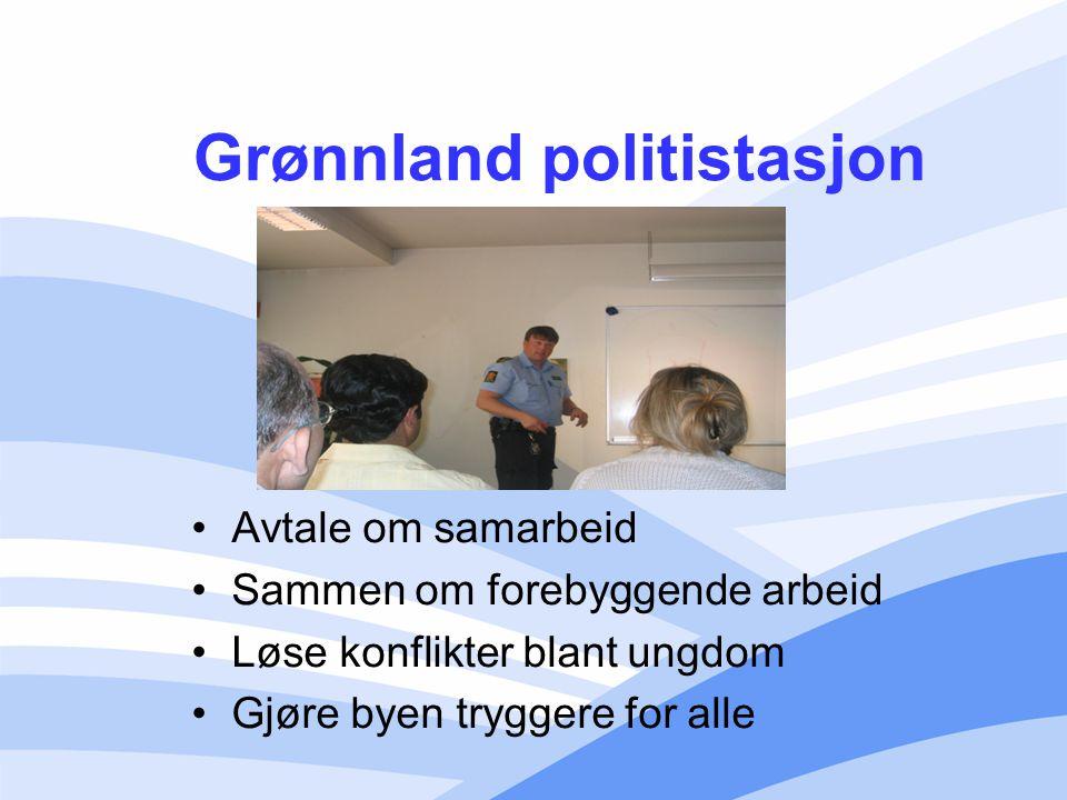 Grønnland politistasjon Avtale om samarbeid Sammen om forebyggende arbeid Løse konflikter blant ungdom Gjøre byen tryggere for alle
