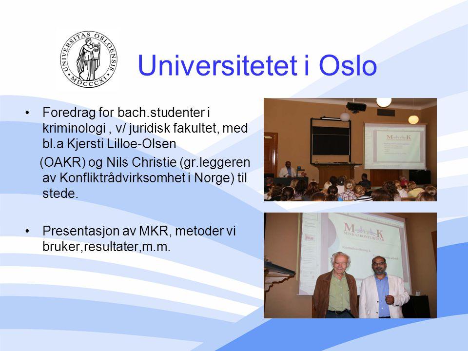 Universitetet i Oslo Foredrag for bach.studenter i kriminologi, v/ juridisk fakultet, med bl.a Kjersti Lilloe-Olsen (OAKR) og Nils Christie (gr.legger