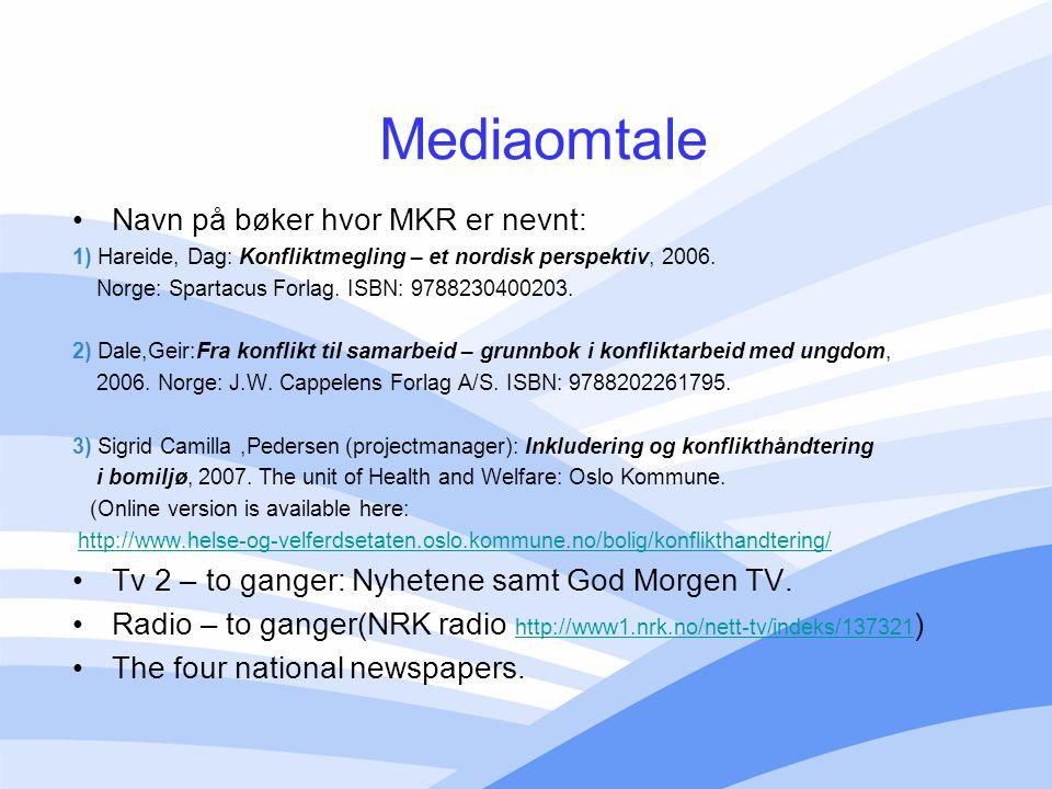 Mediaomtale Navn på bøker hvor MKR er nevnt: 1) Hareide, Dag: Konfliktmegling – et nordisk perspektiv, 2006. Norge: Spartacus Forlag. ISBN: 9788230400