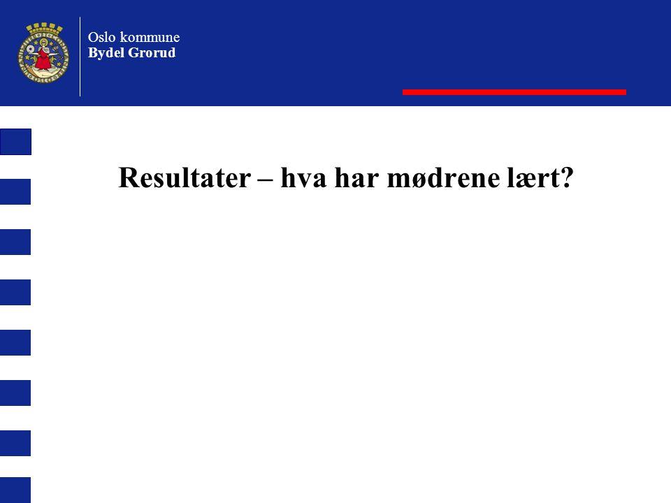 Oslo kommune Bydel Grorud Resultater – hva har mødrene lært?