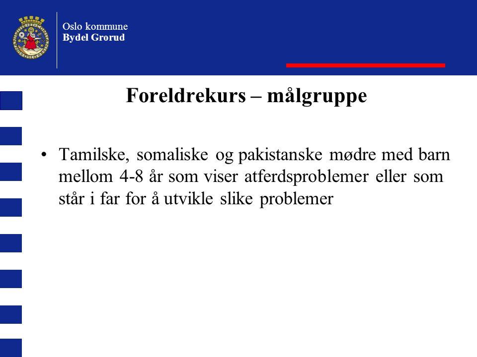 Oslo kommune Bydel Grorud Foreldrekurs – målgruppe Tamilske, somaliske og pakistanske mødre med barn mellom 4-8 år som viser atferdsproblemer eller som står i far for å utvikle slike problemer
