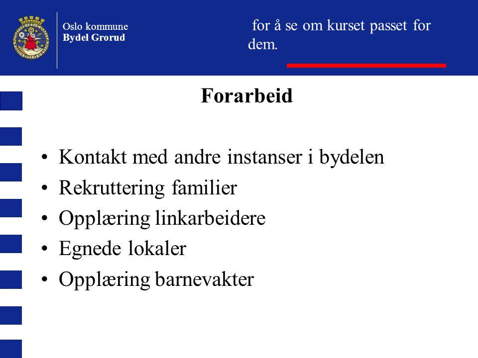 Oslo kommune Bydel Grorud for å se om kurset passet for dem.