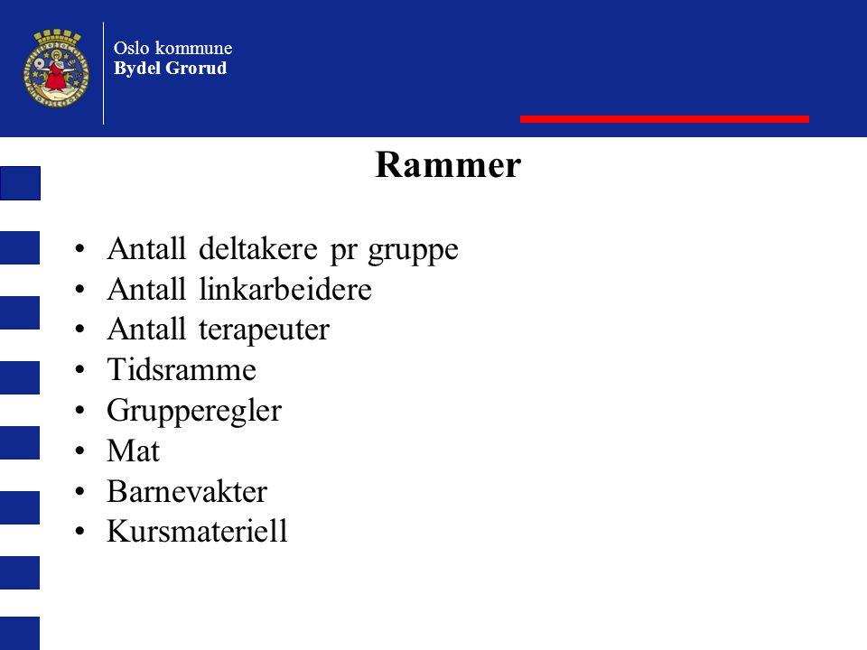 Oslo kommune Bydel Grorud Rammer Antall deltakere pr gruppe Antall linkarbeidere Antall terapeuter Tidsramme Grupperegler Mat Barnevakter Kursmateriell