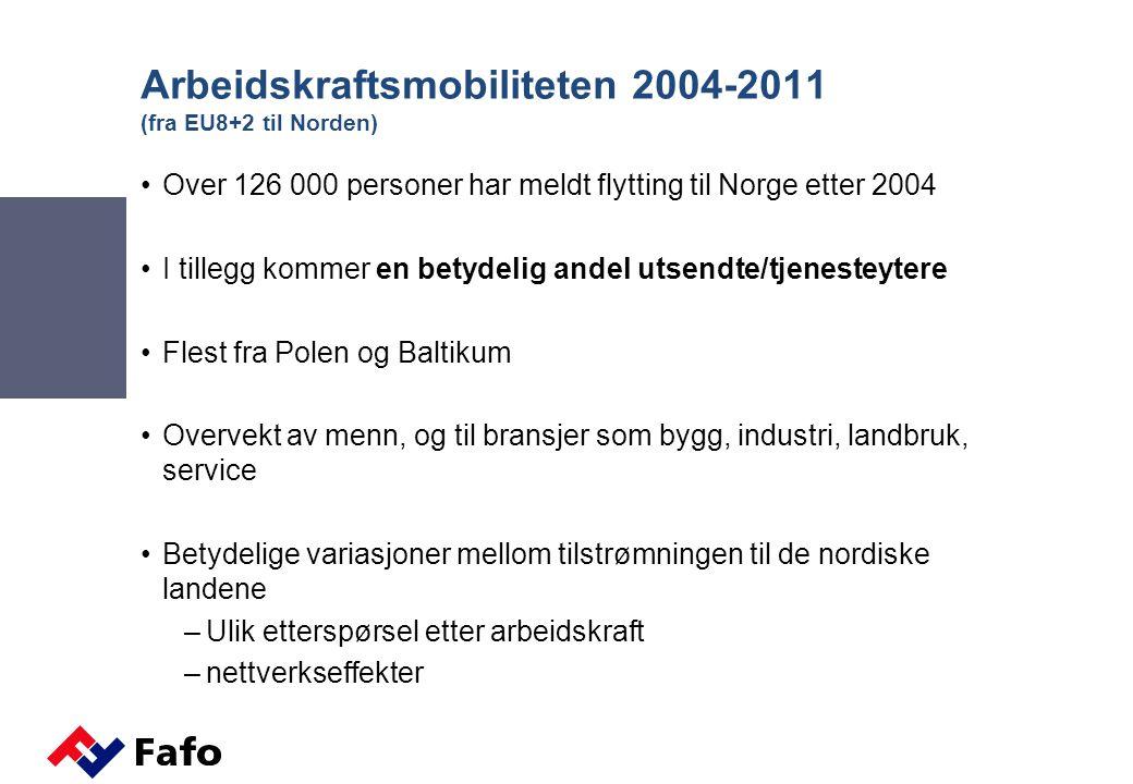 Sysselsatte bosatte og ikke-bosatte fra EU8+2 (beholdningstall) Kilde: Statistisk sentralbyå (SSB)/Fafo