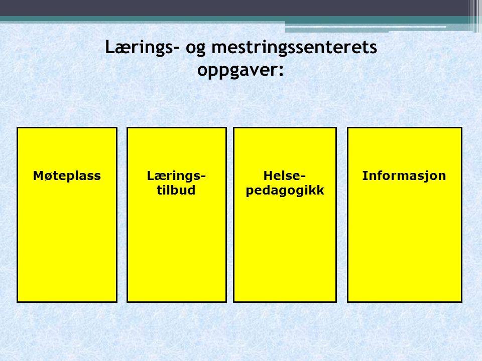 Lærings- og mestringssenterets oppgaver: MøteplassHelse- pedagogikk InformasjonLærings- tilbud