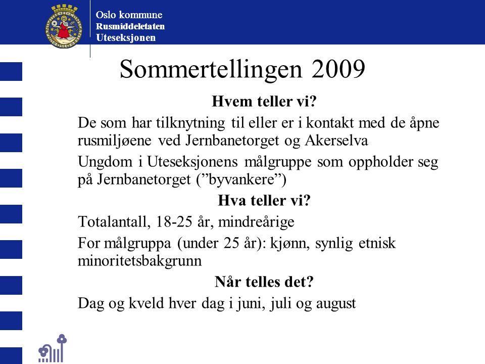 Oslo kommune Rusmiddeletaten Oslo kommune Rusmiddeletaten Uteseksjonen Sommertellingen 2009 Hvem teller vi? De som har tilknytning til eller er i kont