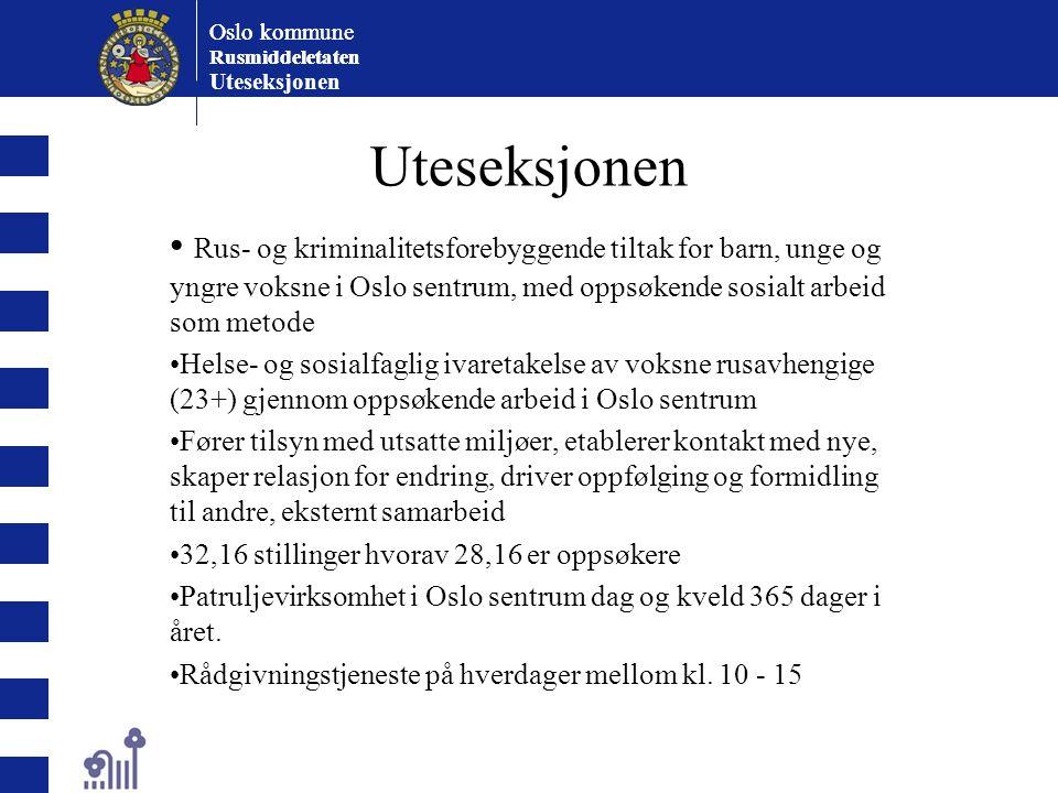 Oslo kommune Rusmiddeletaten Oslo kommune Rusmiddeletaten Uteseksjonen Rus- og kriminalitetsforebyggende tiltak for barn, unge og yngre voksne i Oslo