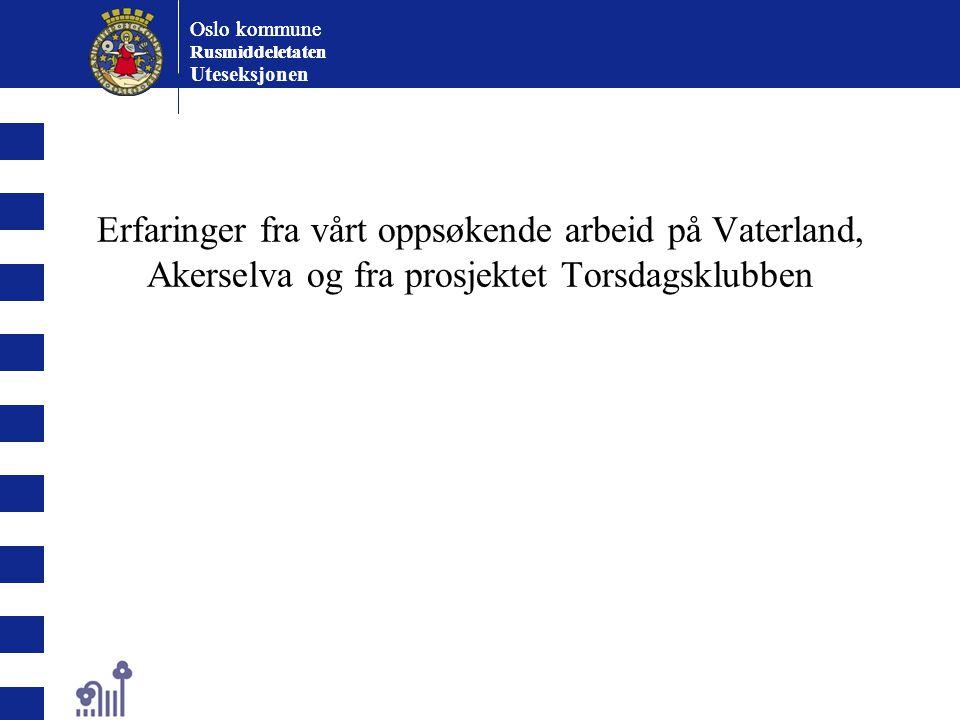 Oslo kommune Rusmiddeletaten Oslo kommune Rusmiddeletaten Uteseksjonen Akerselvamiljøet fra 2001 frem til 2007 Etnisk minoritetsungdom født og oppvokst i Norge.