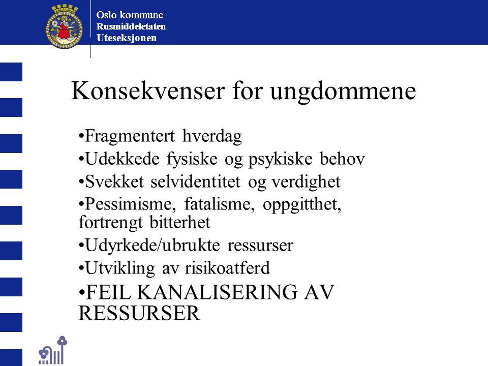 Oslo kommune Rusmiddeletaten Oslo kommune Rusmiddeletaten Uteseksjonen Konsekvenser for ungdommene Fragmentert hverdag Udekkede fysiske og psykiske be