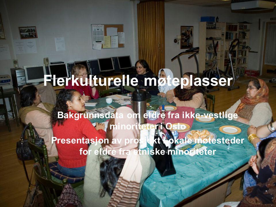 Flerkulturelle møteplasser Bakgrunnsdata om eldre fra ikke-vestlige minoriteter i Oslo Presentasjon av prosjekt Lokale møtesteder for eldre fra etnisk
