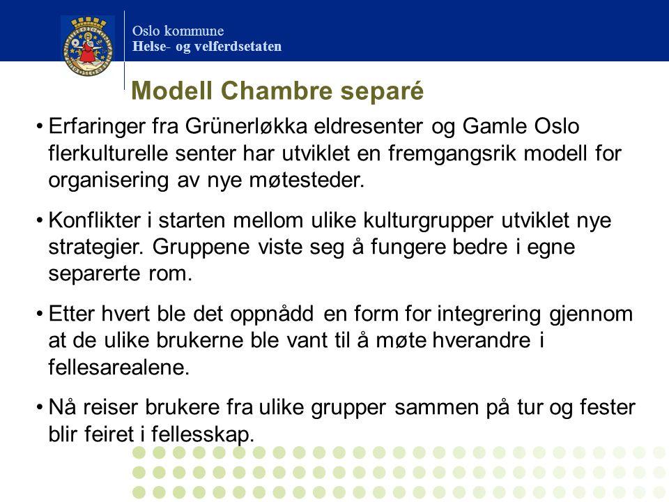 Oslo kommune Helse- og velferdsetaten Erfaringer fra Grünerløkka eldresenter og Gamle Oslo flerkulturelle senter har utviklet en fremgangsrik modell f