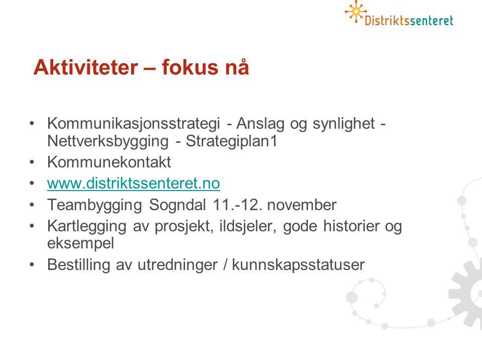 Aktiviteter – fokus nå Kommunikasjonsstrategi - Anslag og synlighet - Nettverksbygging - Strategiplan1 Kommunekontakt www.distriktssenteret.no Teambygging Sogndal 11.-12.
