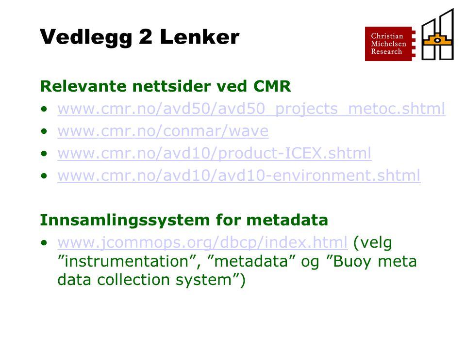 Vedlegg 2 Lenker Relevante nettsider ved CMR www.cmr.no/avd50/avd50_projects_metoc.shtml www.cmr.no/conmar/wave www.cmr.no/avd10/product-ICEX.shtml www.cmr.no/avd10/avd10-environment.shtml Innsamlingssystem for metadata www.jcommops.org/dbcp/index.html (velg instrumentation , metadata og Buoy meta data collection system )www.jcommops.org/dbcp/index.html