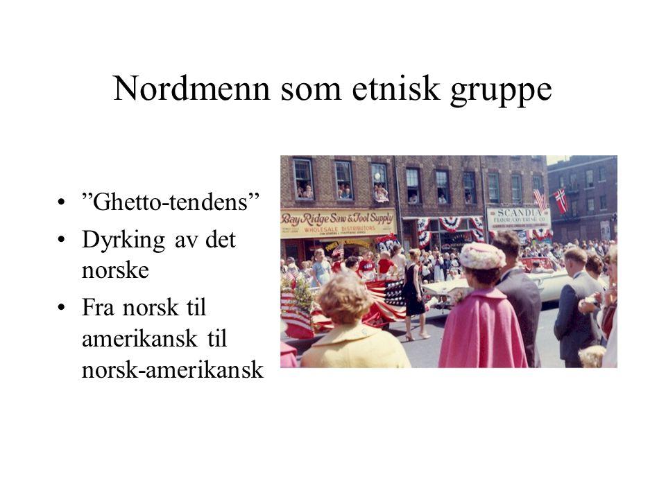 Nordmenn som etnisk gruppe Ghetto-tendens Dyrking av det norske Fra norsk til amerikansk til norsk-amerikansk