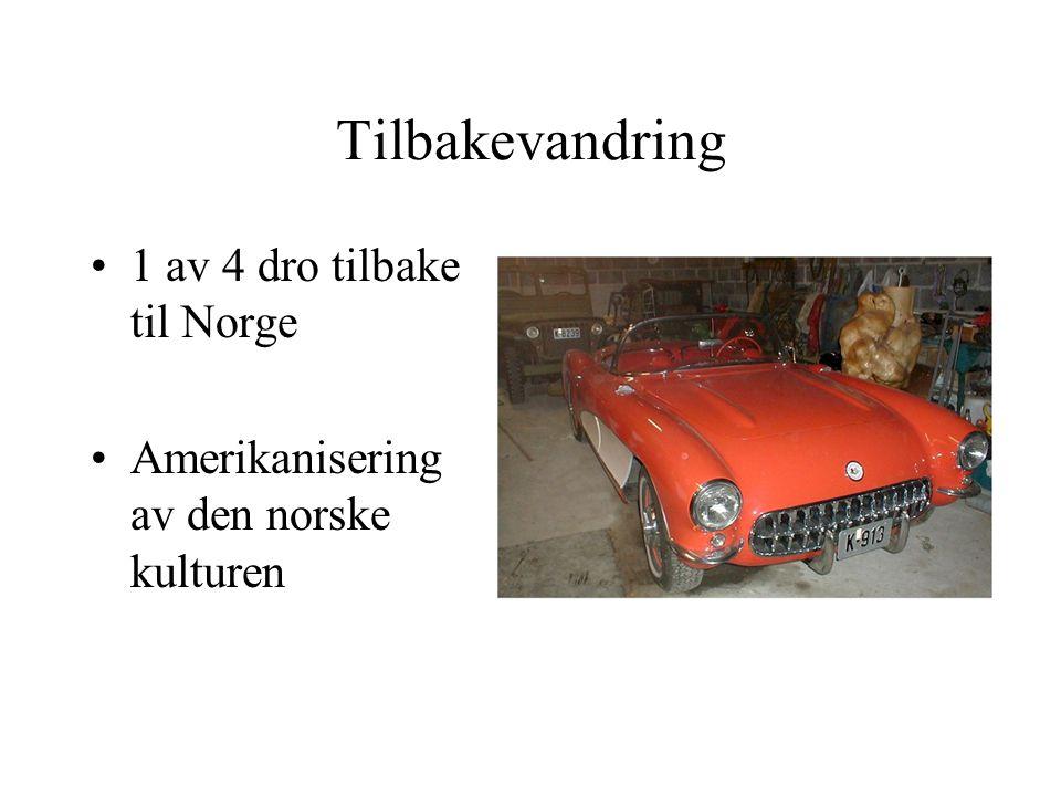 Tilbakevandring 1 av 4 dro tilbake til Norge Amerikanisering av den norske kulturen