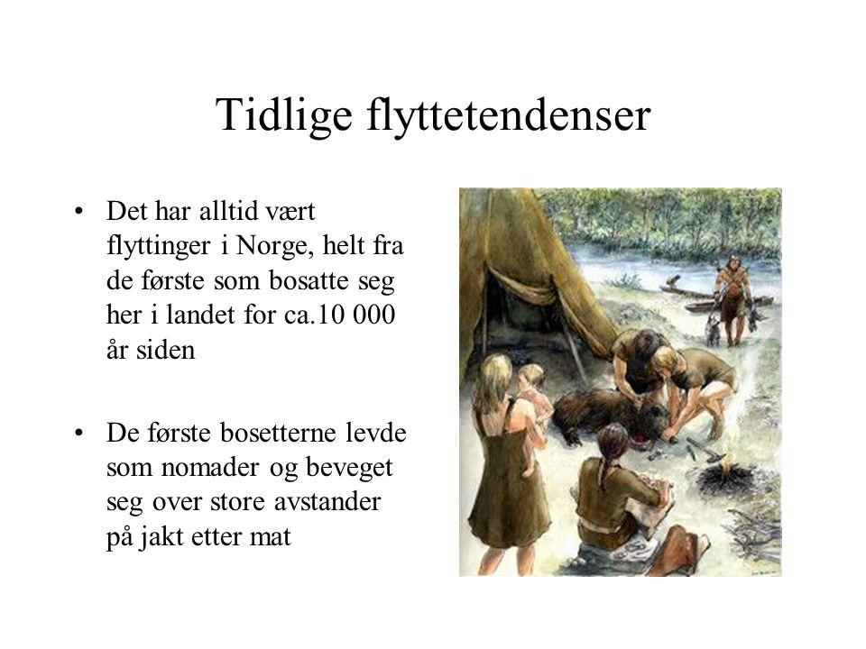 Tidlige flyttetendenser Det har alltid vært flyttinger i Norge, helt fra de første som bosatte seg her i landet for ca.10 000 år siden De første bosetterne levde som nomader og beveget seg over store avstander på jakt etter mat