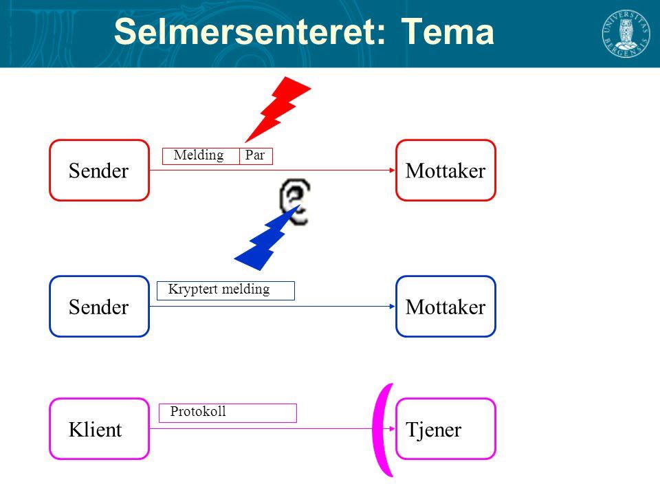 SenderMottaker MeldingPar SenderMottaker Kryptert melding Selmersenteret: Tema KlientTjener Protokoll