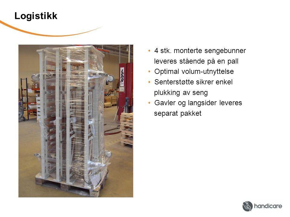 Logistikk 4 stk. monterte sengebunner leveres stående på en pall Optimal volum-utnyttelse Senterstøtte sikrer enkel plukking av seng Gavler og langsid