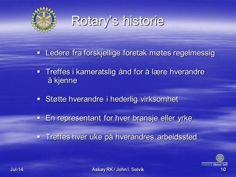 Jul-14Askøy RK / John I. Solvik10 Rotary's historie  Ledere fra forskjellige foretak møtes regelmessig  Treffes i kameratslig ånd for å lære hverand