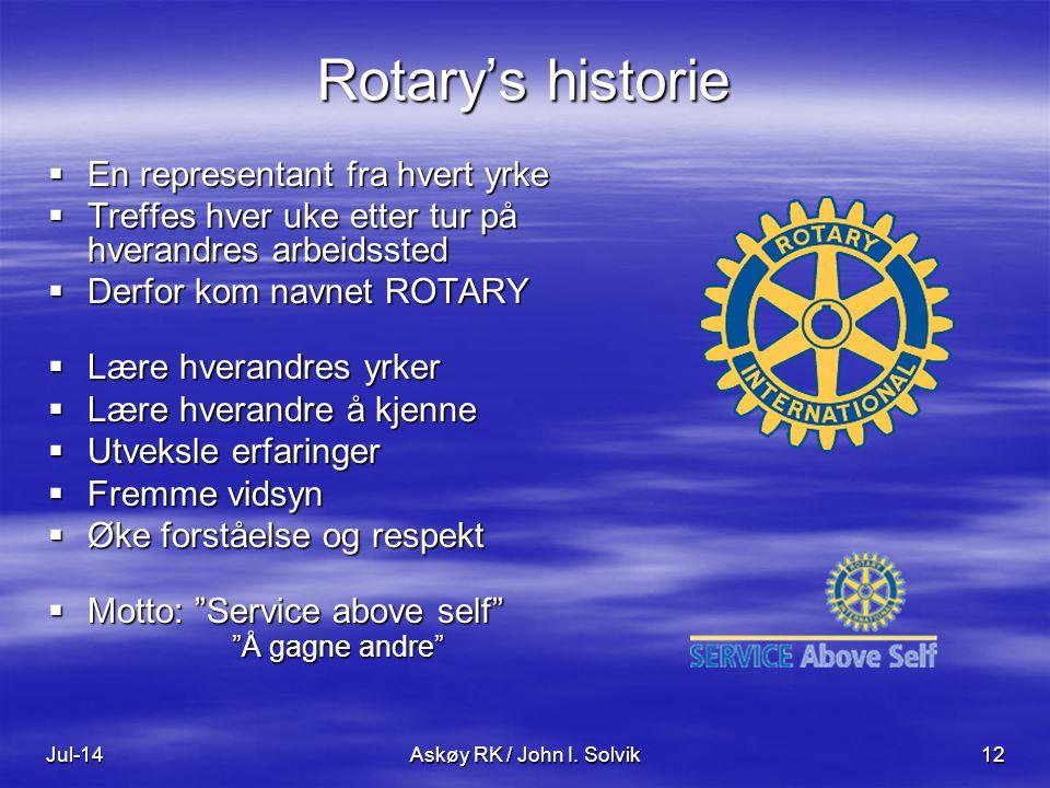 Jul-14Askøy RK / John I. Solvik12 Rotary's historie  En representant fra hvert yrke  Treffes hver uke etter tur på hverandres arbeidssted  Derfor k