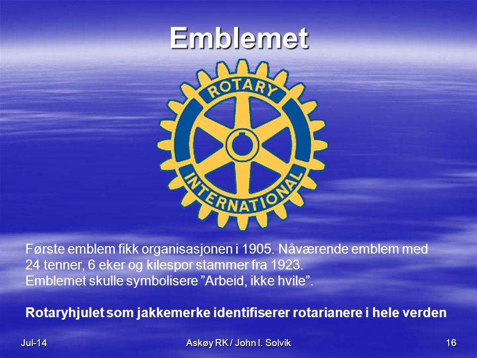 Jul-14Askøy RK / John I. Solvik16 Emblemet Første emblem fikk organisasjonen i 1905. Nåværende emblem med 24 tenner, 6 eker og kilespor stammer fra 19