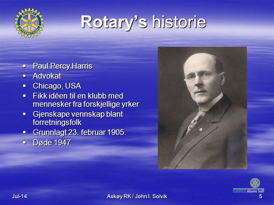 Jul-14Askøy RK / John I. Solvik5 Rotary's historie  Paul Percy Harris  Advokat  Chicago, USA  Fikk idéen til en klubb med mennesker fra forskjelli